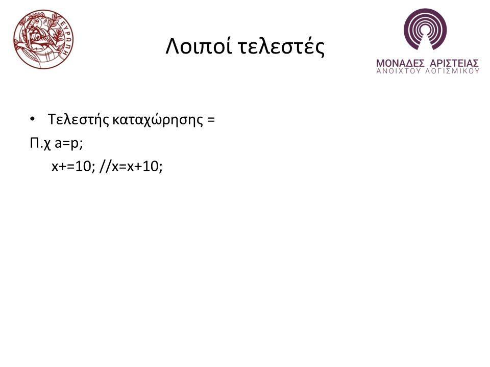 Λοιποί τελεστές Τελεστής καταχώρησης = Π.χ a=p; x+=10; //x=x+10;