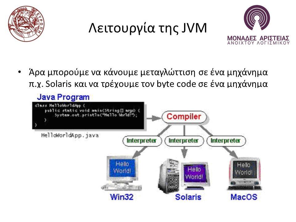 Λειτουργία της JVM Άρα μπορούμε να κάνουμε μεταγλώττιση σε ένα μηχάνημα π.χ.