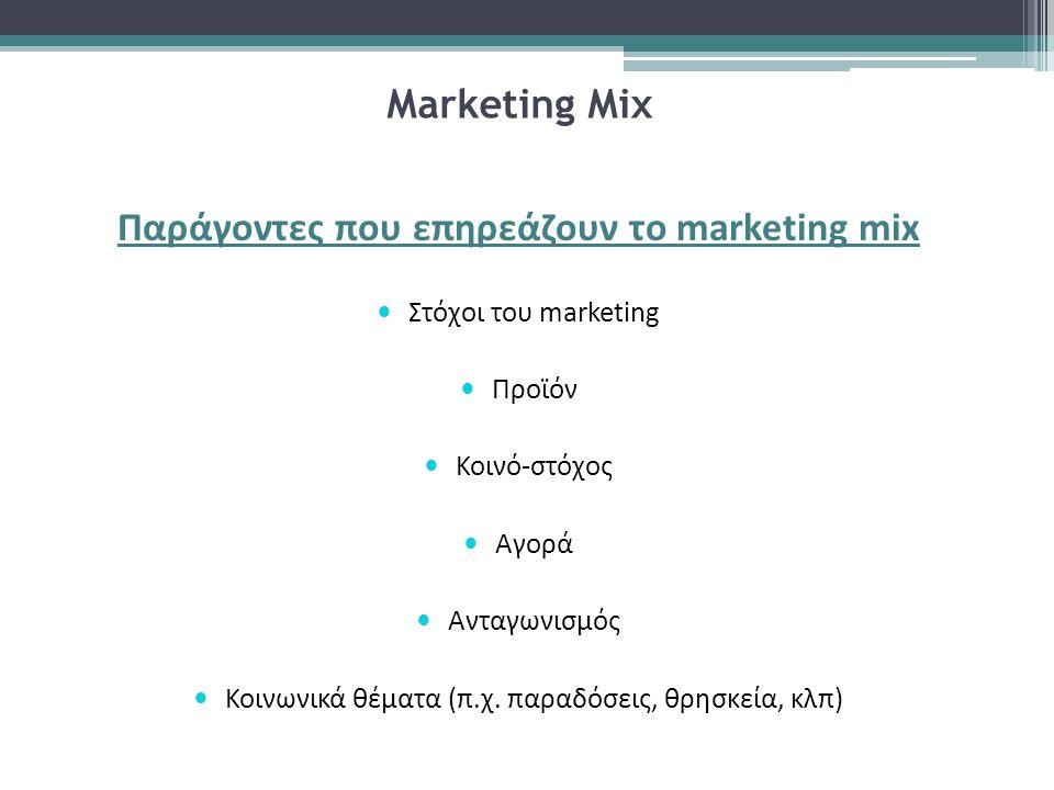 Marketing Miχ Παράγοντες που επηρεάζουν το marketing mix Στόχοι του marketing Προϊόν Κοινό-στόχος Αγορά Ανταγωνισμός Κοινωνικά θέματα (π.χ. παραδόσεις