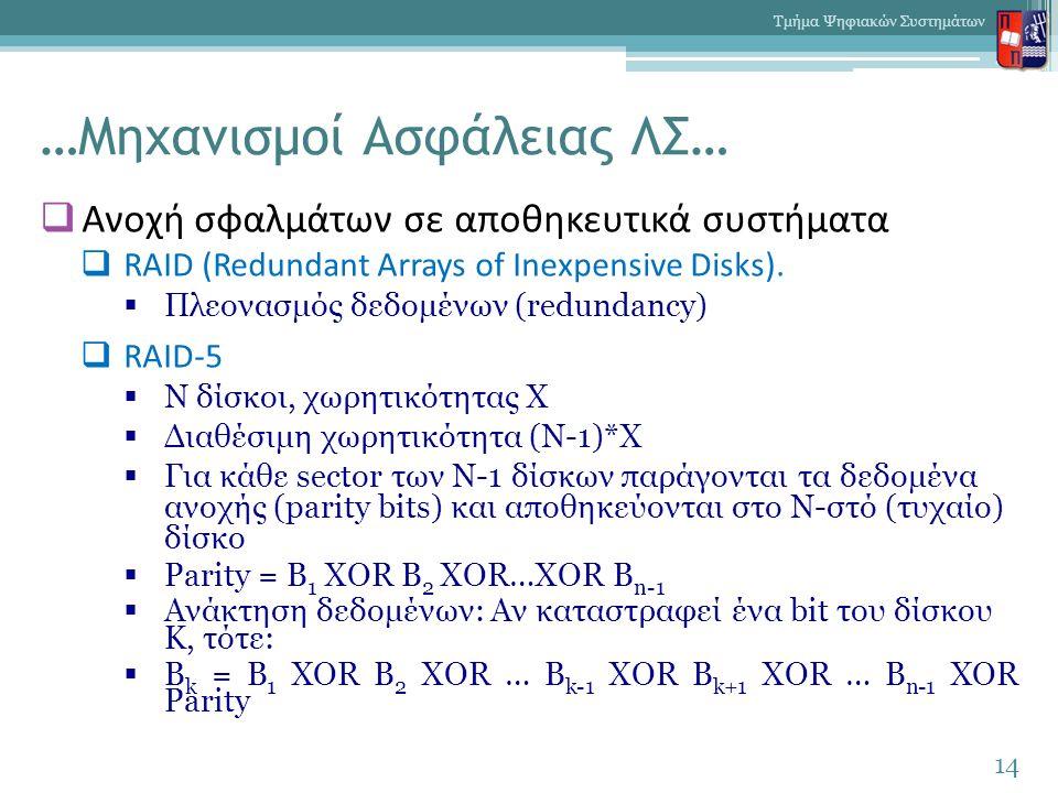 …Μηχανισμοί Ασφάλειας ΛΣ…  Ανοχή σφαλμάτων σε αποθηκευτικά συστήματα  RAID (Redundant Arrays of Inexpensive Disks).  Πλεονασμός δεδομένων (redundan