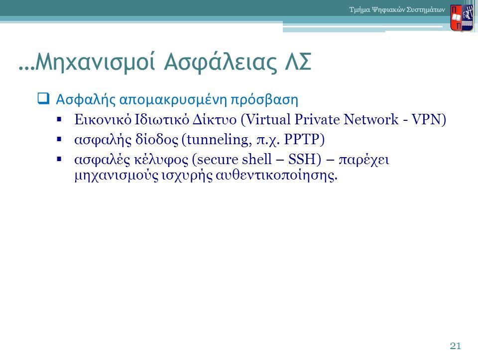 …Μηχανισμοί Ασφάλειας ΛΣ  Ασφαλής απομακρυσμένη πρόσβαση  Εικονικό Ιδιωτικό Δίκτυο (Virtual Private Network - VPN)  ασφαλής δίοδος (tunneling, π.χ.