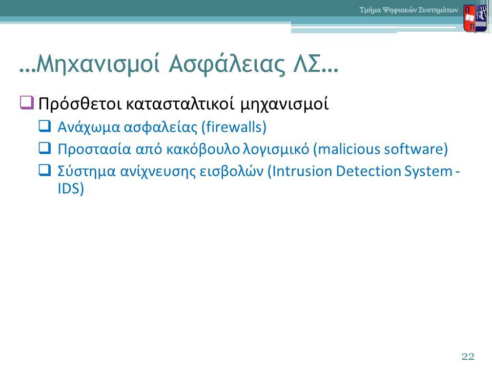 …Μηχανισμοί Ασφάλειας ΛΣ…  Πρόσθετοι κατασταλτικοί μηχανισμοί  Ανάχωμα ασφαλείας (firewalls)  Προστασία από κακόβουλο λογισμικό (malicious software)  Σύστημα ανίχνευσης εισβολών (Intrusion Detection System - IDS) 22 Τμήμα Ψηφιακών Συστημάτων