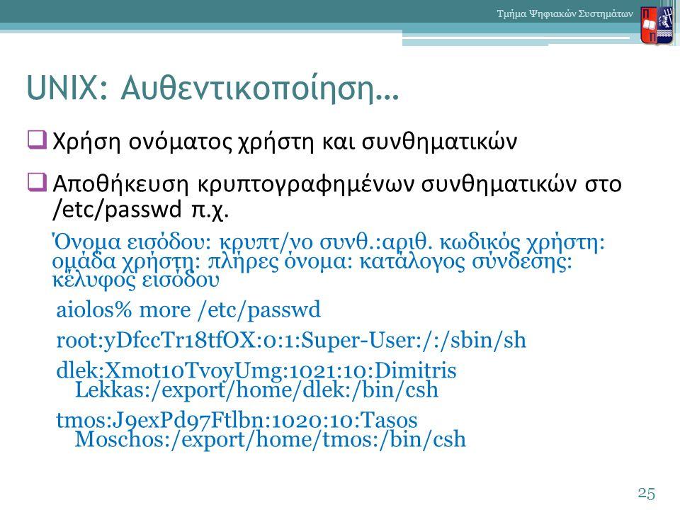UNIX: Αυθεντικοποίηση…  Χρήση ονόματος χρήστη και συνθηματικών  Αποθήκευση κρυπτογραφημένων συνθηματικών στο /etc/passwd π.χ. Όνομα εισόδου: κρυπτ/ν