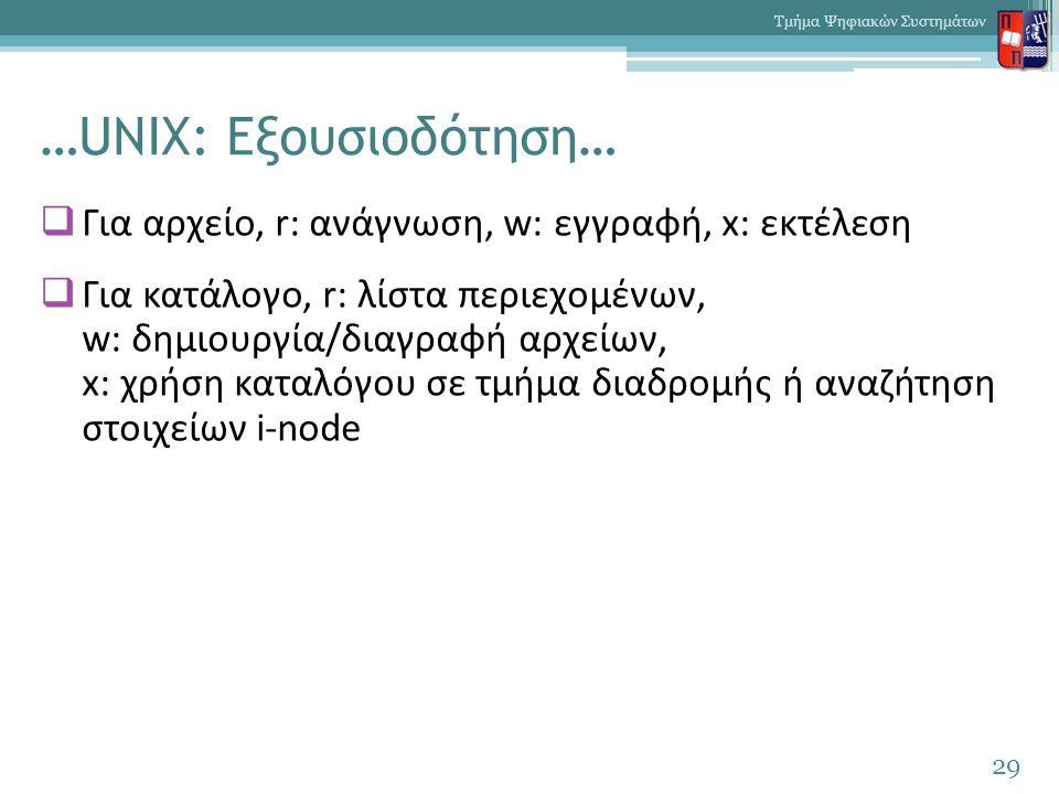 …UNIX: Εξουσιοδότηση…  Για αρχείο, r: ανάγνωση, w: εγγραφή, x: εκτέλεση  Για κατάλογο, r: λίστα περιεχομένων, w: δημιουργία/διαγραφή αρχείων, x: χρήση καταλόγου σε τμήμα διαδρομής ή αναζήτηση στοιχείων i-node 29 Τμήμα Ψηφιακών Συστημάτων
