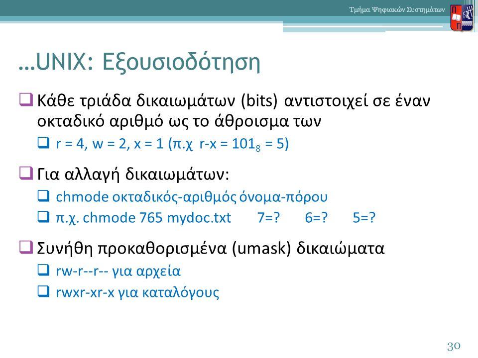 …UNIX: Εξουσιοδότηση  Κάθε τριάδα δικαιωμάτων (bits) αντιστοιχεί σε έναν οκταδικό αριθμό ως το άθροισμα των  r = 4, w = 2, x = 1 (π.χ r-x = 101 8 =