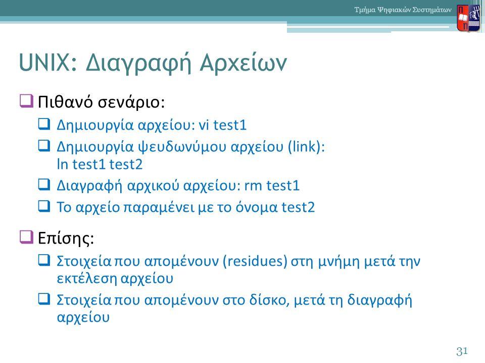 UNIX: Διαγραφή Αρχείων  Πιθανό σενάριο:  Δημιουργία αρχείου: vi test1  Δημιουργία ψευδωνύμου αρχείου (link): ln test1 test2  Διαγραφή αρχικού αρχείου: rm test1  Το αρχείο παραμένει με το όνομα test2  Επίσης:  Στοιχεία που απομένουν (residues) στη μνήμη μετά την εκτέλεση αρχείου  Στοιχεία που απομένουν στο δίσκο, μετά τη διαγραφή αρχείου 31 Τμήμα Ψηφιακών Συστημάτων