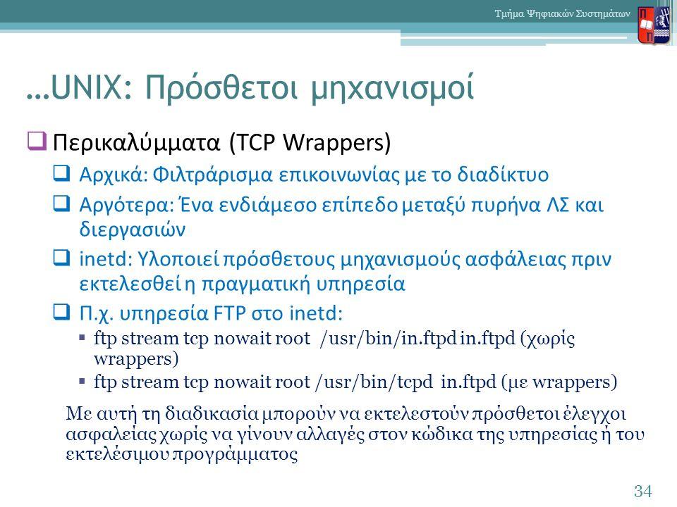 …UNIX: Πρόσθετοι μηχανισμοί  Περικαλύμματα (TCP Wrappers)  Αρχικά: Φιλτράρισμα επικοινωνίας με το διαδίκτυο  Αργότερα: Ένα ενδιάμεσο επίπεδο μεταξύ πυρήνα ΛΣ και διεργασιών  inetd: Υλοποιεί πρόσθετους μηχανισμούς ασφάλειας πριν εκτελεσθεί η πραγματική υπηρεσία  Π.χ.