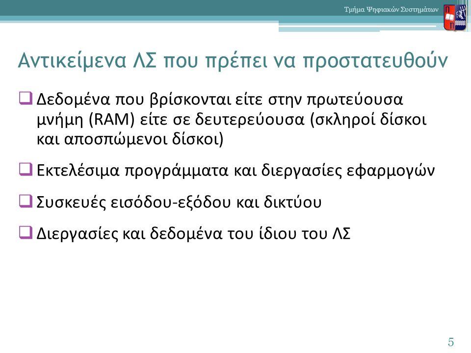 Αντικείμενα ΛΣ που πρέπει να προστατευθούν  Δεδομένα που βρίσκονται είτε στην πρωτεύουσα μνήμη (RAM) είτε σε δευτερεύουσα (σκληροί δίσκοι και αποσπώμ