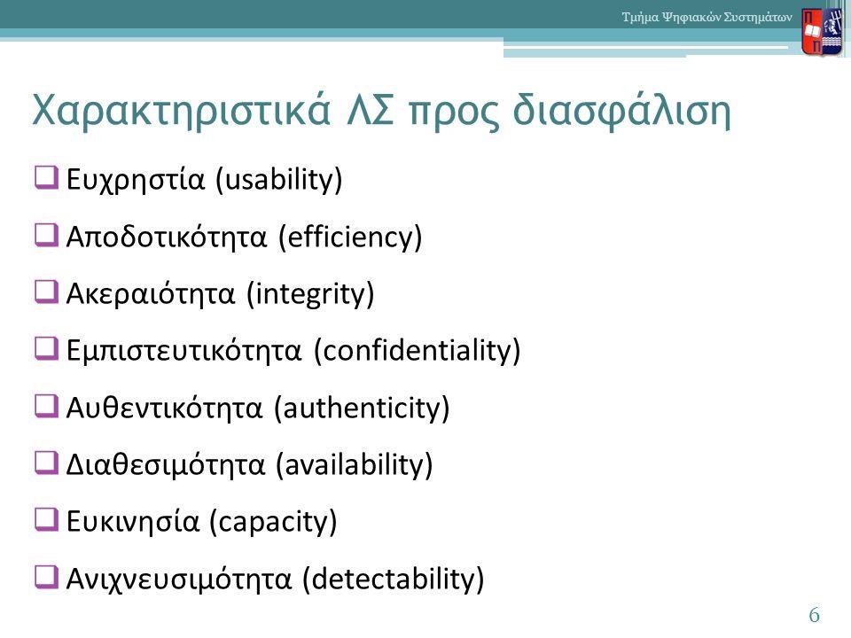 Χαρακτηριστικά ΛΣ προς διασφάλιση  Ευχρηστία (usability)  Αποδοτικότητα (efficiency)  Ακεραιότητα (integrity)  Εμπιστευτικότητα (confidentiality)  Αυθεντικότητα (authenticity)  Διαθεσιμότητα (availability)  Ευκινησία (capacity)  Ανιχνευσιμότητα (detectability) 6 Τμήμα Ψηφιακών Συστημάτων