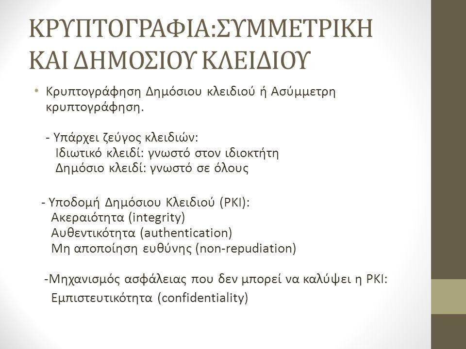 ΚΡΥΠΤΟΓΡΑΦΙΑ:ΣΥΜΜΕΤΡΙΚΗ ΚΑΙ ΔΗΜΟΣΙΟΥ ΚΛΕΙΔΙΟΥ Κρυπτογράφηση Δημόσιου κλειδιού ή Ασύμμετρη κρυπτογράφηση.