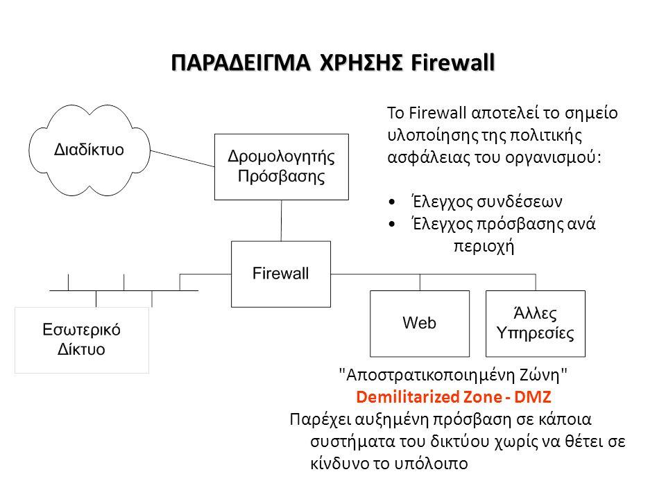 ΠΑΡΑΔΕΙΓΜΑ ΧΡΗΣΗΣ Firewall Αποστρατικοποιημένη Ζώνη Demilitarized Zone - DMZ Παρέχει αυξημένη πρόσβαση σε κάποια συστήματα του δικτύου χωρίς να θέτει σε κίνδυνο το υπόλοιπο Το Firewall αποτελεί το σημείο υλοποίησης της πολιτικής ασφάλειας του οργανισμού: Έλεγχος συνδέσεων Έλεγχος πρόσβασης ανά περιοχή