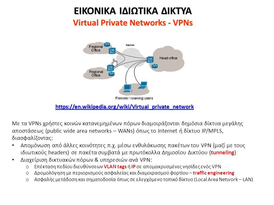 ΕΙΚΟΝΙΚΑ ΙΔΙΩΤΙΚΑ ΔΙΚΤΥΑ Virtual Private Networks - VPNs https://en.wikipedia.org/wiki/Virtual_private_network Με τα VPNs χρήστες κοινών κατανεμημένων πόρων διαμοιράζονται δημόσια δίκτυα μεγάλης αποστάσεως (public wide area networks – WANs) όπως το Internet ή δίκτυο IP/MPLS, διασφαλίζοντας: Απομόνωση από άλλες κοινότητες π.χ.