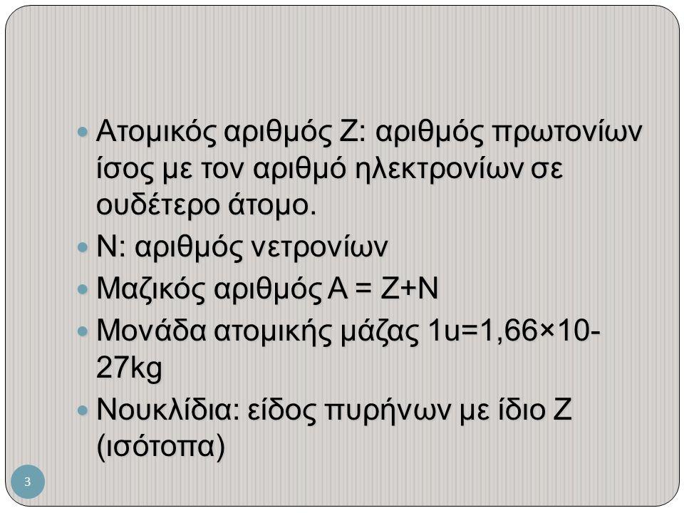 Ατομικός αριθμός Ζ: αριθμός πρωτονίων ίσος με τον αριθμό ηλεκτρονίων σε ουδέτερο άτομο.