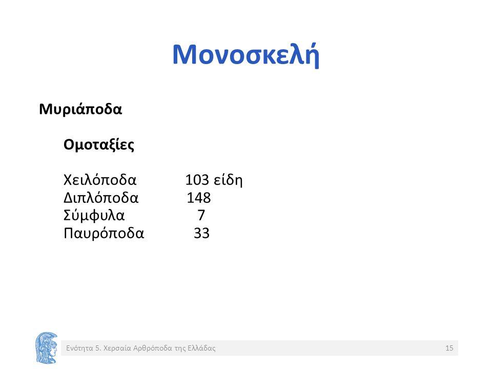 Μονοσκελή Μυριάποδα Ομοταξίες Χειλόποδα 103 είδη Διπλόποδα148 Σύμφυλα 7 Παυρόποδα 33 Ενότητα 5.