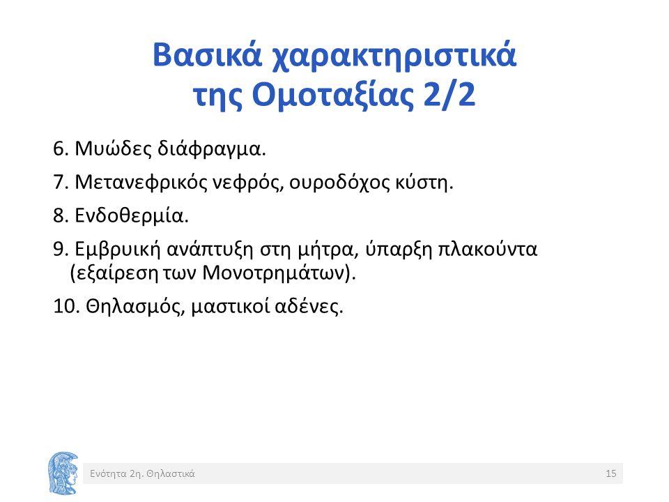Βασικά χαρακτηριστικά της Ομοταξίας 2/2 6. Μυώδες διάφραγμα.