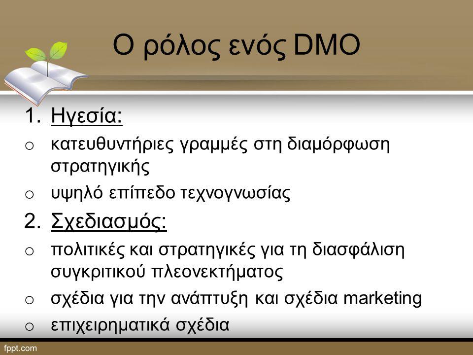 Ο ρόλος ενός DMO 1.Ηγεσία: o κατευθυντήριες γραμμές στη διαμόρφωση στρατηγικής o υψηλό επίπεδο τεχνογνωσίας 2.Σχεδιασμός: o πολιτικές και στρατηγικές για τη διασφάλιση συγκριτικού πλεονεκτήματος o σχέδια για την ανάπτυξη και σχέδια marketing o επιχειρηματικά σχέδια