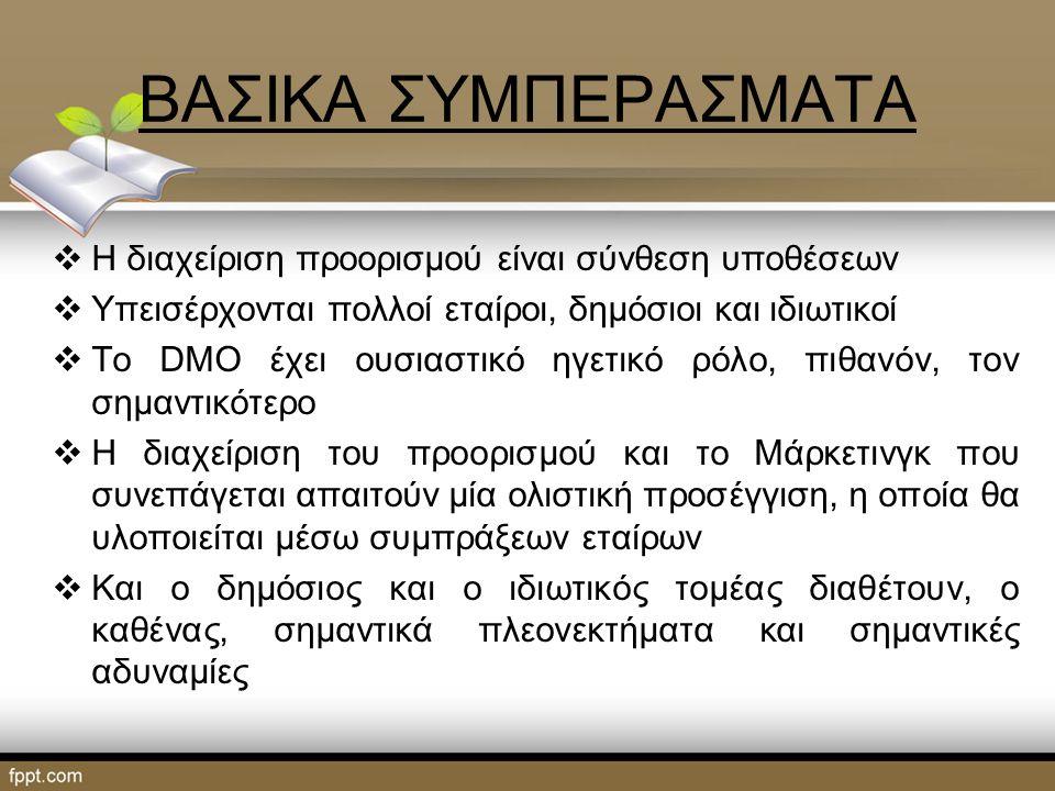 ΒΑΣΙΚΑ ΣΥΜΠΕΡΑΣΜΑΤΑ  Η διαχείριση προορισμού είναι σύνθεση υποθέσεων  Υπεισέρχονται πολλοί εταίροι, δημόσιοι και ιδιωτικοί  Το DMO έχει ουσιαστικό ηγετικό ρόλο, πιθανόν, τον σημαντικότερο  Η διαχείριση του προορισμού και το Μάρκετινγκ που συνεπάγεται απαιτούν μία ολιστική προσέγγιση, η οποία θα υλοποιείται μέσω συμπράξεων εταίρων  Και ο δημόσιος και ο ιδιωτικός τομέας διαθέτουν, ο καθένας, σημαντικά πλεονεκτήματα και σημαντικές αδυναμίες