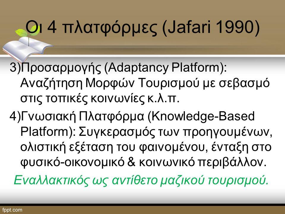 Οι 4 πλατφόρμες (Jafari 1990) 3)Προσαρμογής (Adaptancy Platform): Αναζήτηση Μορφών Τουρισμού με σεβασμό στις τοπικές κοινωνίες κ.λ.π.