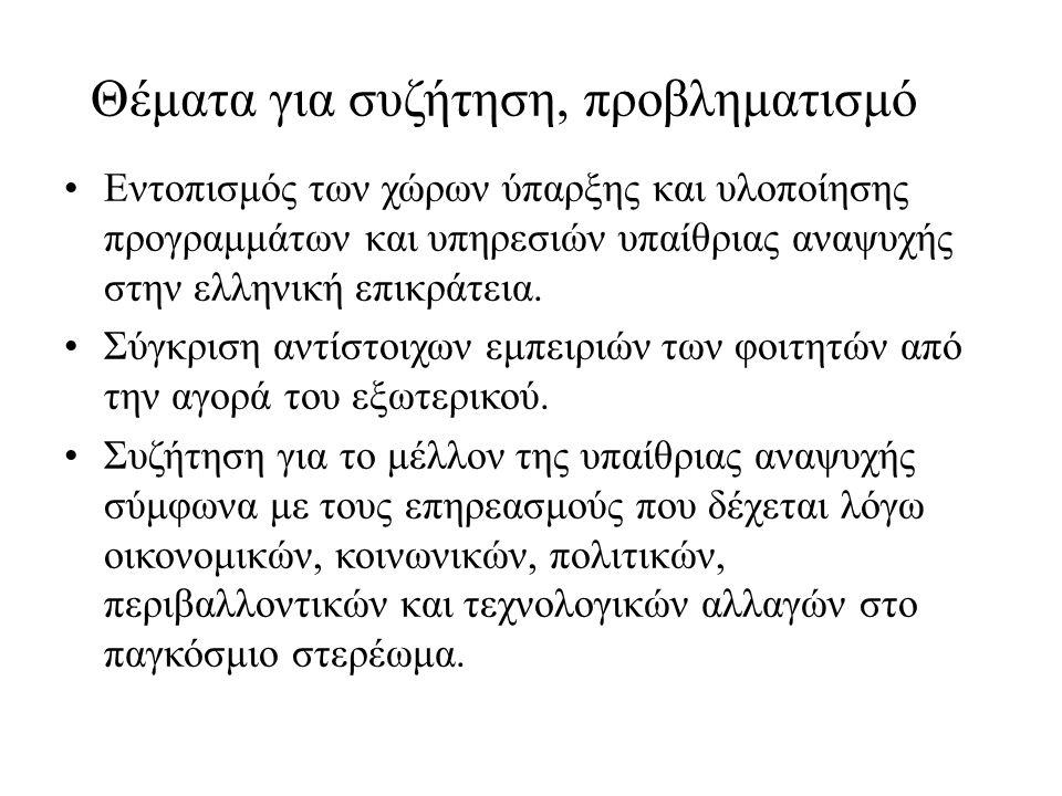Θέματα για συζήτηση, προβληματισμό Εντοπισμός των χώρων ύπαρξης και υλοποίησης προγραμμάτων και υπηρεσιών υπαίθριας αναψυχής στην ελληνική επικράτεια.