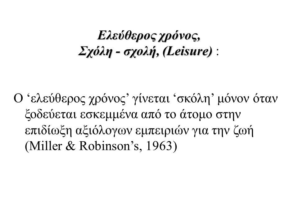 Ελεύθερος χρόνος, Σχόλη - σχολή, (Leisure) Ελεύθερος χρόνος, Σχόλη - σχολή, (Leisure) : Ο 'ελεύθερος χρόνος' γίνεται 'σκόλη' μόνον όταν ξοδεύεται εσκεμμένα από το άτομο στην επιδίωξη αξιόλογων εμπειριών για την ζωή (Miller & Robinson's, 1963)