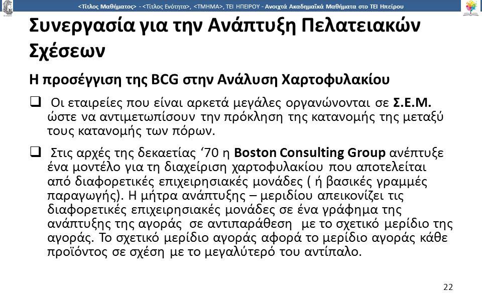 2 -,, ΤΕΙ ΗΠΕΙΡΟΥ - Ανοιχτά Ακαδημαϊκά Μαθήματα στο ΤΕΙ Ηπείρου Συνεργασία για την Ανάπτυξη Πελατειακών Σχέσεων H προσέγγιση της BCG στην Ανάλυση Χαρτοφυλακίου  Οι εταιρείες που είναι αρκετά μεγάλες οργανώνονται σε Σ.Ε.Μ.