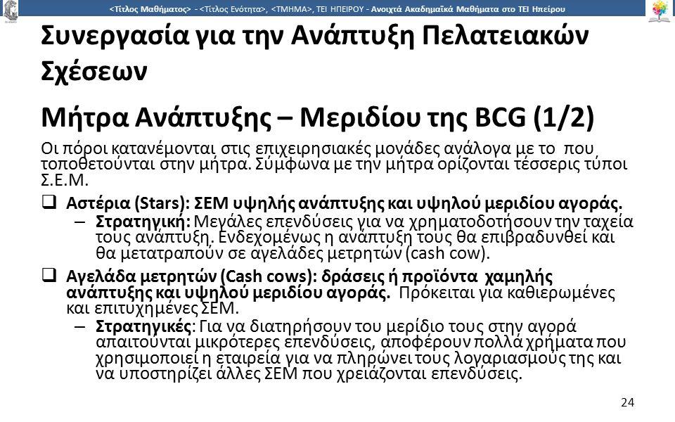 2424 -,, ΤΕΙ ΗΠΕΙΡΟΥ - Ανοιχτά Ακαδημαϊκά Μαθήματα στο ΤΕΙ Ηπείρου Συνεργασία για την Ανάπτυξη Πελατειακών Σχέσεων Μήτρα Ανάπτυξης – Μεριδίου της BCG (1/2) Οι πόροι κατανέμονται στις επιχειρησιακές μονάδες ανάλογα με το που τοποθετούνται στην μήτρα.