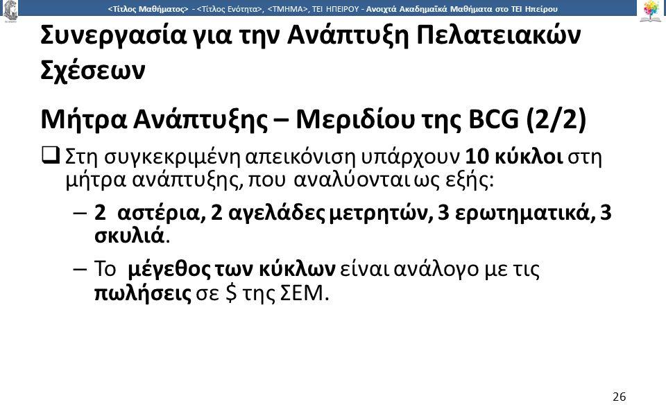2626 -,, ΤΕΙ ΗΠΕΙΡΟΥ - Ανοιχτά Ακαδημαϊκά Μαθήματα στο ΤΕΙ Ηπείρου Συνεργασία για την Ανάπτυξη Πελατειακών Σχέσεων Μήτρα Ανάπτυξης – Μεριδίου της BCG