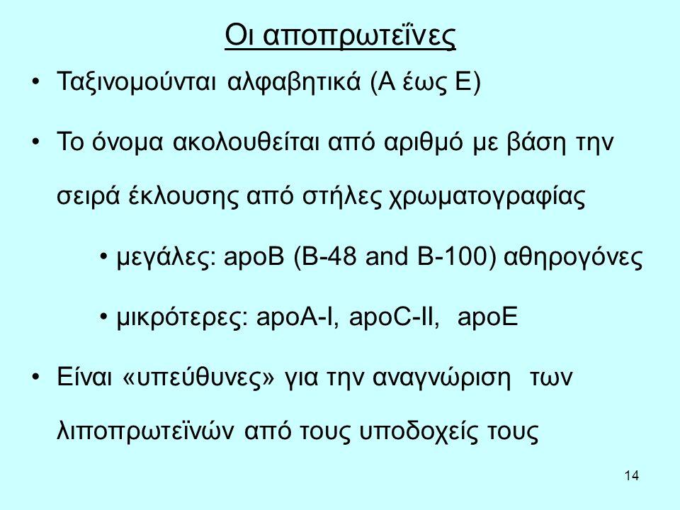 14 Οι αποπρωτεΐνες Ταξινομούνται αλφαβητικά (A έως E) Το όνομα ακολουθείται από αριθμό με βάση την σειρά έκλουσης από στήλες χρωματογραφίας μεγάλες: apoB (Β-48 and B-100) αθηρογόνες μικρότερες: apoA-I, apoC-II, apoE Είναι «υπεύθυνες» για την αναγνώριση των λιποπρωτεϊνών από τους υποδοχείς τους