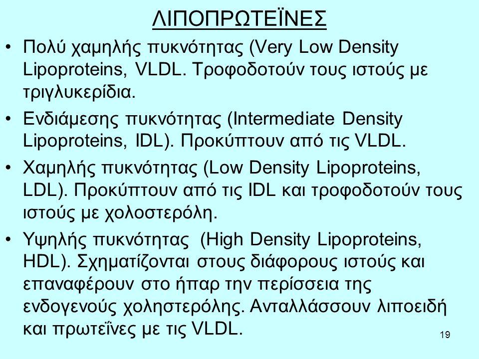 19 ΛΙΠΟΠΡΩΤΕΪΝΕΣ Πoλύ χαμηλής πυκvότητας (Very Low Density Lipoproteins, VLDL.
