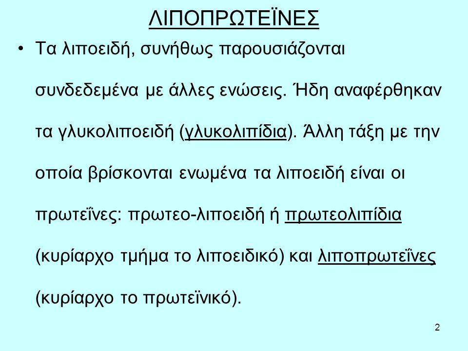 13 Αποπρωτεΐνες Τα πρωτεϊνικά μόρια των λιποπρωτεϊνών, έχουν μοριακά βάρη από 6.000 (ApoC-I) έως 550.000 (ApoB-100).