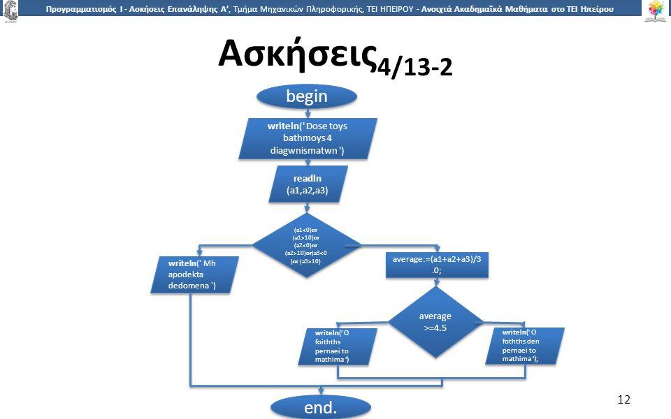 1212 Προγραμματισμός Ι - Ασκήσεις Επανάληψης Α', Τμήμα Μηχανικών Πληροφορικής, ΤΕΙ ΗΠΕΙΡΟΥ - Ανοιχτά Ακαδημαϊκά Μαθήματα στο ΤΕΙ Ηπείρου Ασκήσεις 4/13-2 12 begin writeln( Dose toys bathmoys 4 diagwnismatwn ) readln (a1,a2,a3) readln (a1,a2,a3) average >=4.5 writeln( Mh apodekta dedomena ) average:=(a1+a2+a3)/3.0; (a1 10)or (a2 10)or(a3 10) end.
