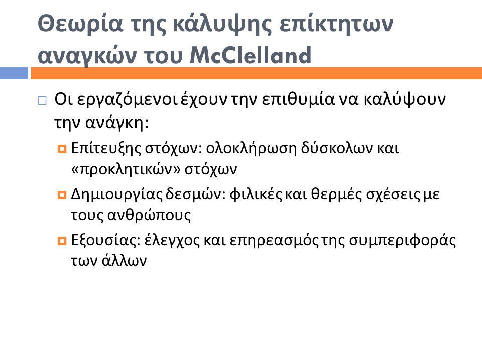 Θεωρία της κάλυψης επίκτητων αναγκών του McClelland  Οι εργαζόμενοι έχουν την επιθυμία να καλύψουν την ανάγκη :  Επίτευξης στόχων : ολοκλήρωση δύσκο