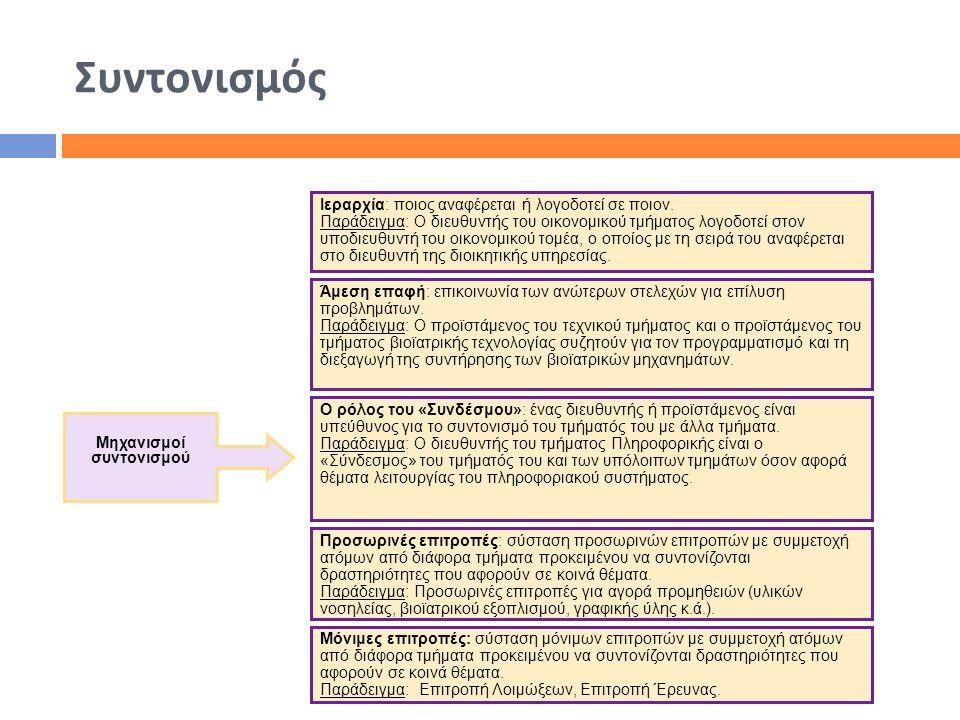 Συντονισμός Μηχανισμοί συντονισμού Ιεραρχία: ποιος αναφέρεται ή λογοδοτεί σε ποιον. Παράδειγμα: Ο διευθυντής του οικονομικού τμήματος λογοδοτεί στον υ