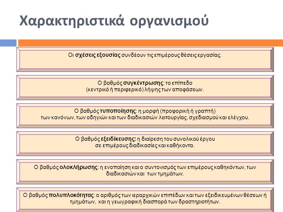 Χαρακτηριστικά οργανισμού Οι σχέσεις εξουσίας συνδέουν τις επιμέρους θέσεις εργασίας. Ο βαθμός συγκέντρωσης: το επίπεδο (κεντρικό ή περιφερικό) λήψης