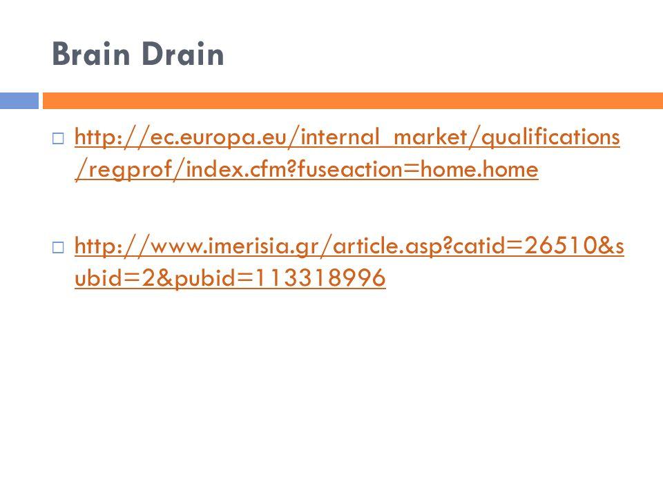 Brain Drain  http://ec.europa.eu/internal_market/qualifications /regprof/index.cfm?fuseaction=home.home http://ec.europa.eu/internal_market/qualifica