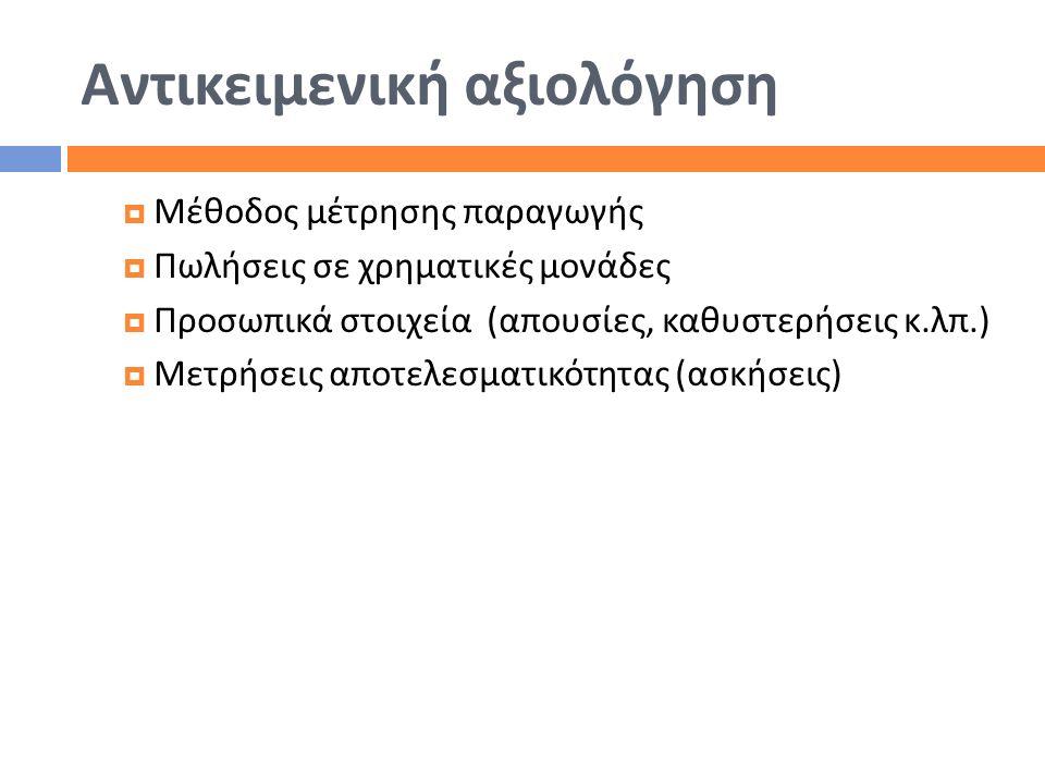 Αντικειμενική αξιολόγηση  Μέθοδος μέτρησης παραγωγής  Πωλήσεις σε χρηματικές μονάδες  Προσωπικά στοιχεία ( απουσίες, καθυστερήσεις κ. λπ.)  Μετρήσ
