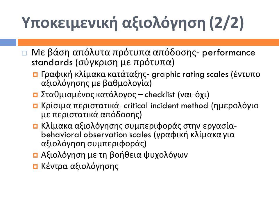 Υποκειμενική αξιολόγηση (2/2)  Με βάση απόλυτα πρότυπα απόδοσης - performance standards ( σύγκριση με πρότυπα )  Γραφική κλίμακα κατάταξης - graphic
