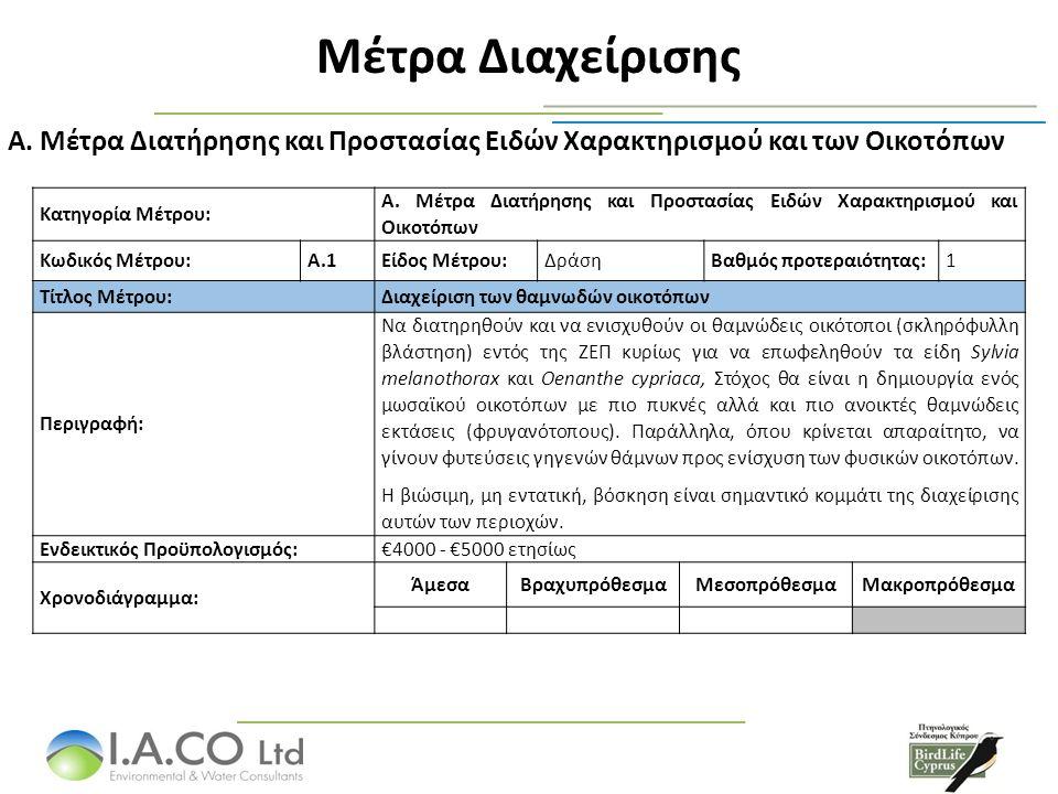 Μέτρα Διαχείρισης Α. Μέτρα Διατήρησης και Προστασίας Ειδών Χαρακτηρισμού και των Οικοτόπων Κατηγορία Μέτρου: A. Μέτρα Διατήρησης και Προστασίας Ειδών