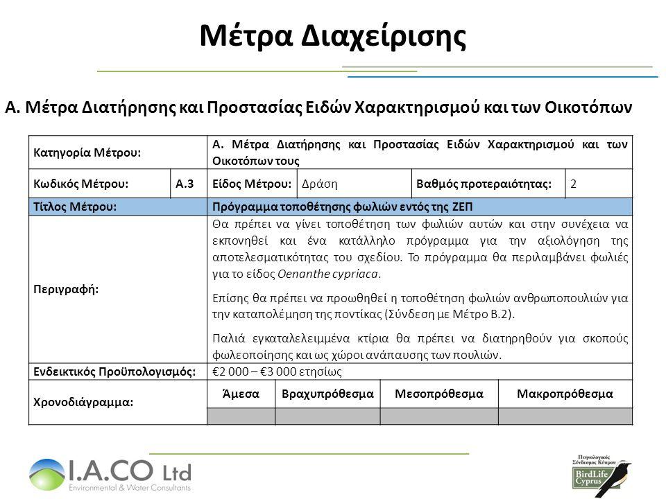 Μέτρα Διαχείρισης Α. Μέτρα Διατήρησης και Προστασίας Ειδών Χαρακτηρισμού και των Οικοτόπων Κατηγορία Μέτρου: Α. Μέτρα Διατήρησης και Προστασίας Ειδών