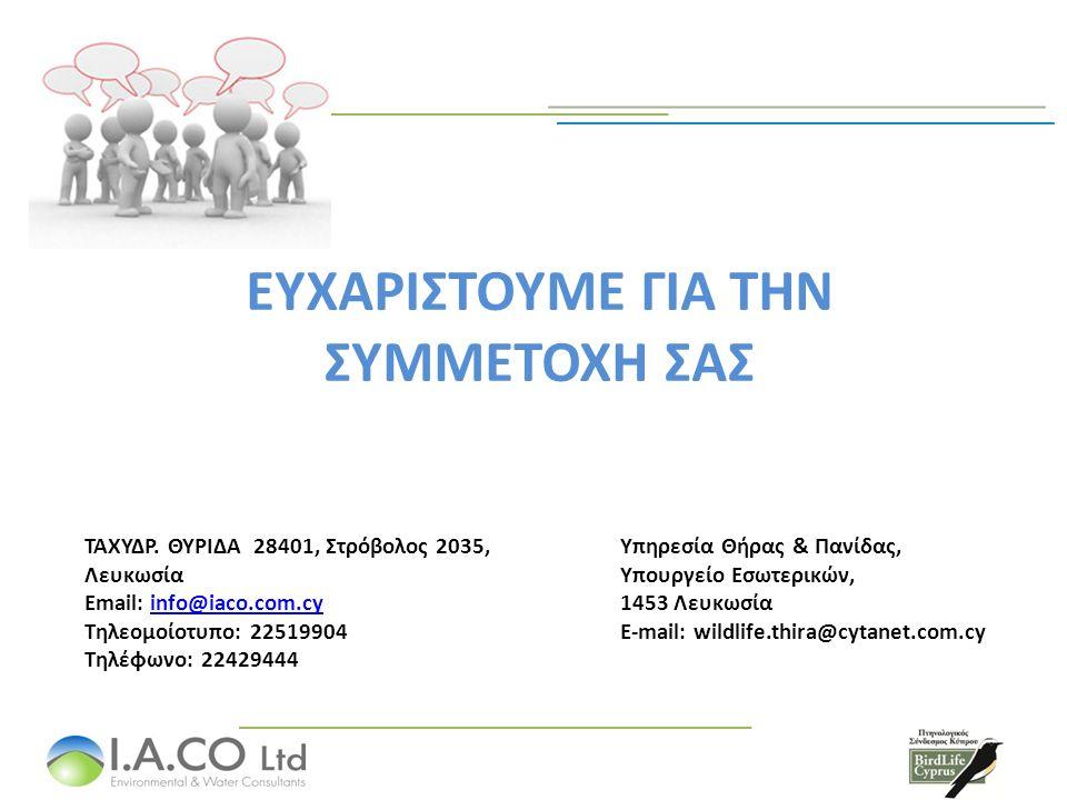 ΕΥΧΑΡΙΣΤΟΥΜΕ ΓΙΑ ΤΗΝ ΣΥΜΜΕΤΟΧΗ ΣΑΣ ΤΑΧΥΔΡ. ΘΥΡΙΔΑ 28401, Στρόβολος 2035, Λευκωσία Email: info@iaco.com.cyinfo@iaco.com.cy Τηλεομοίοτυπο: 22519904 Τηλέ