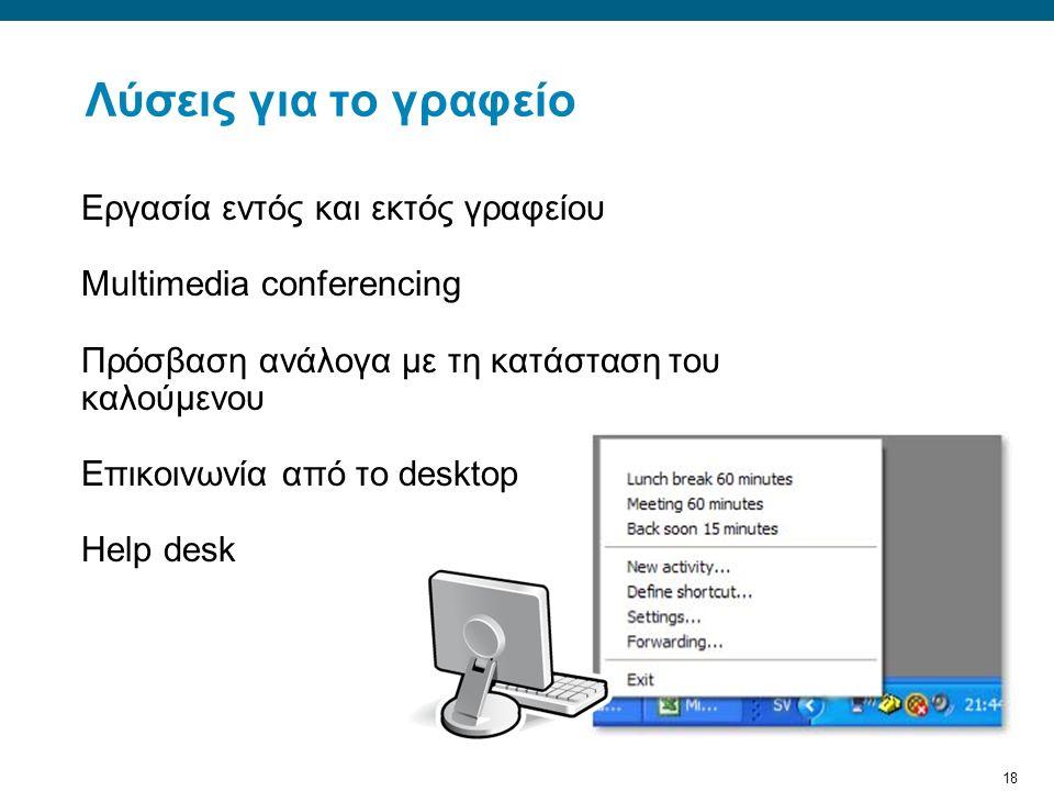 18 Λύσεις για το γραφείο Εργασία εντός και εκτός γραφείου Multimedia conferencing Πρόσβαση ανάλογα με τη κατάσταση του καλούμενου Επικοινωνία από το desktop Help desk