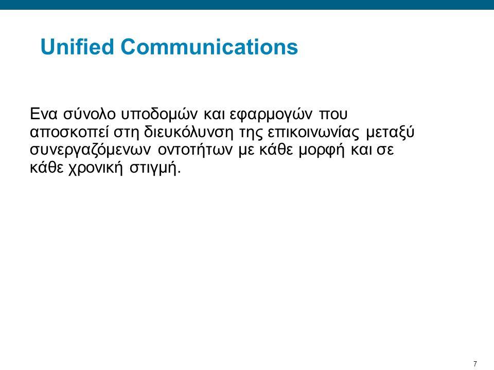 7 Unified Communications Ενα σύνολο υποδομών και εφαρμογών που αποσκοπεί στη διευκόλυνση της επικοινωνίας μεταξύ συνεργαζόμενων οντοτήτων με κάθε μορφή και σε κάθε χρονική στιγμή.