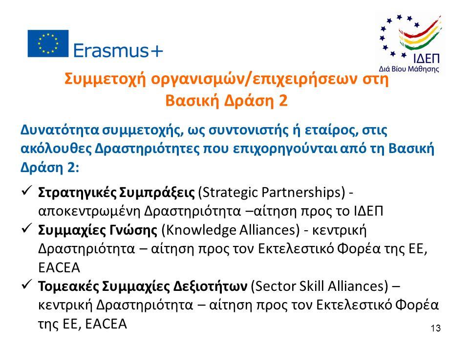 Δυνατότητα συμμετοχής, ως συντονιστής ή εταίρος, στις ακόλουθες Δραστηριότητες που επιχορηγούνται από τη Βασική Δράση 2: Στρατηγικές Συμπράξεις (Strategic Partnerships) - αποκεντρωμένη Δραστηριότητα –αίτηση προς το ΙΔΕΠ Συμμαχίες Γνώσης (Knowledge Alliances) - κεντρική Δραστηριότητα – αίτηση προς τον Εκτελεστικό Φορέα της ΕΕ, EACEA Τομεακές Συμμαχίες Δεξιοτήτων (Sector Skill Alliances) – κεντρική Δραστηριότητα – αίτηση προς τον Εκτελεστικό Φορέα της ΕΕ, EACEA Συμμετοχή οργανισμών/επιχειρήσεων στη Βασική Δράση 2 13