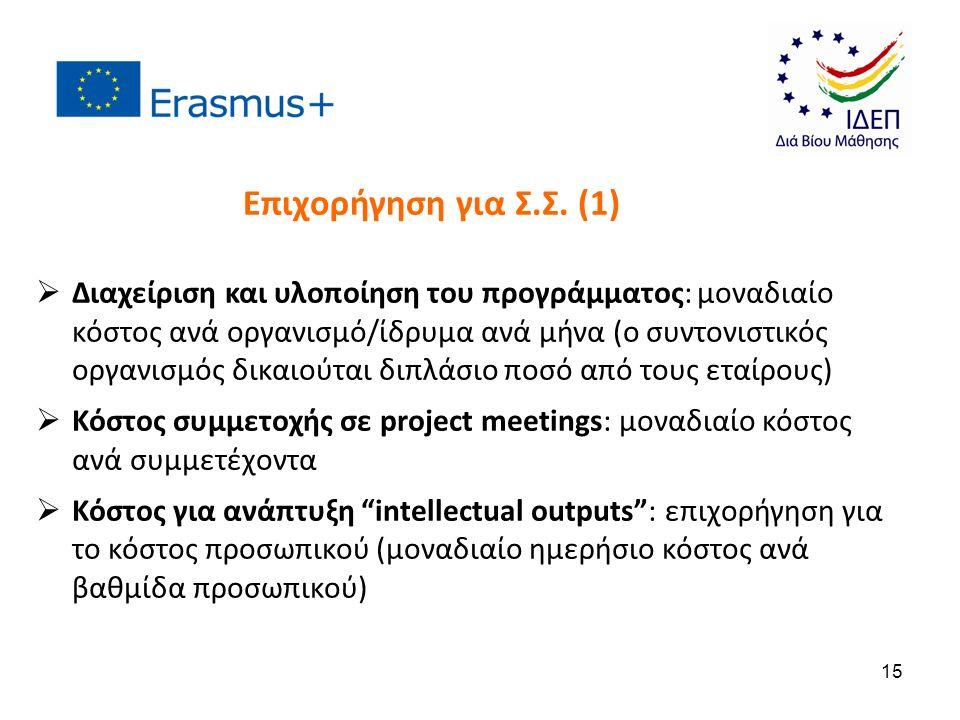  Διαχείριση και υλοποίηση του προγράμματος: μοναδιαίο κόστος ανά οργανισμό/ίδρυμα ανά μήνα (ο συντονιστικός οργανισμός δικαιούται διπλάσιο ποσό από τους εταίρους)  Κόστος συμμετοχής σε project meetings: μοναδιαίο κόστος ανά συμμετέχοντα  Κόστος για ανάπτυξη intellectual outputs : επιχορήγηση για το κόστος προσωπικού (μοναδιαίο ημερήσιο κόστος ανά βαθμίδα προσωπικού) Επιχορήγηση για Σ.Σ.