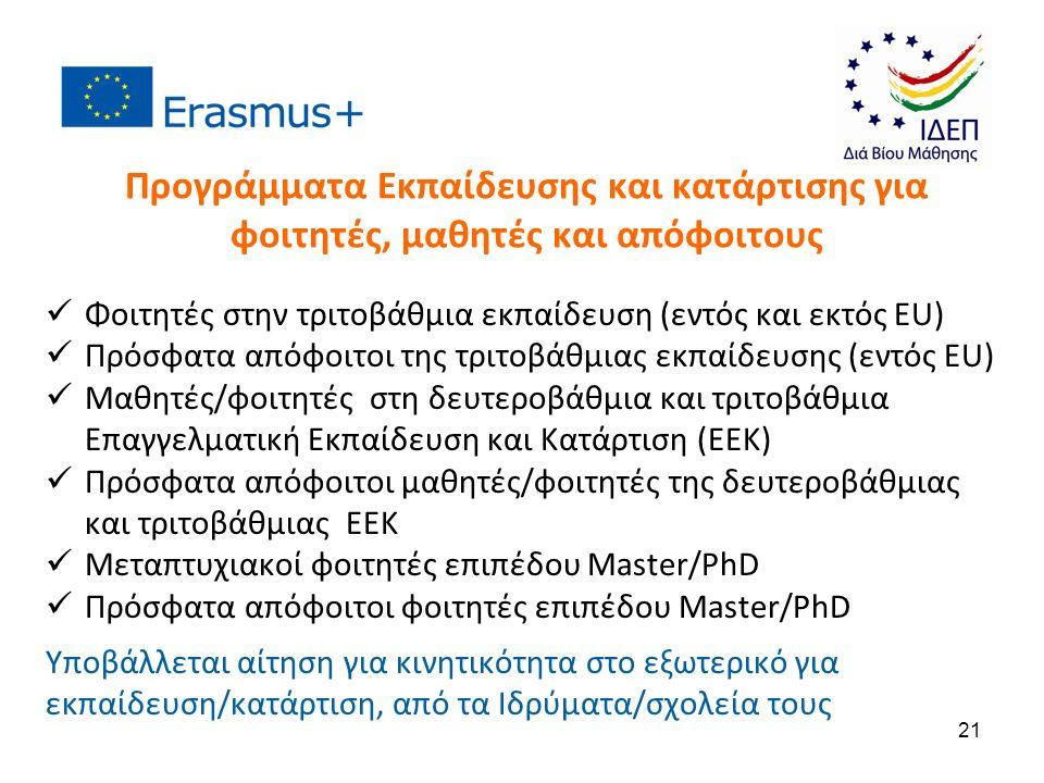 Προγράμματα Εκπαίδευσης και κατάρτισης για φοιτητές, μαθητές και απόφοιτους Φοιτητές στην τριτοβάθμια εκπαίδευση (εντός και εκτός ΕU) Πρόσφατα απόφοιτοι της τριτοβάθμιας εκπαίδευσης (εντός ΕU) Μαθητές/φοιτητές στη δευτεροβάθμια και τριτοβάθμια Επαγγελματική Εκπαίδευση και Κατάρτιση (ΕΕΚ) Πρόσφατα απόφοιτοι μαθητές/φοιτητές της δευτεροβάθμιας και τριτοβάθμιας ΕΕΚ Μεταπτυχιακοί φοιτητές επιπέδου Master/PhD Πρόσφατα απόφοιτοι φοιτητές επιπέδου Master/PhD Υποβάλλεται αίτηση για κινητικότητα στο εξωτερικό για εκπαίδευση/κατάρτιση, από τα Ιδρύματα/σχολεία τους 21