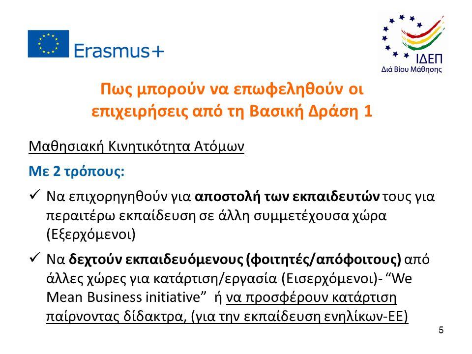 Μαθησιακή Κινητικότητα Ατόμων Με 2 τρόπους: Να επιχορηγηθούν για αποστολή των εκπαιδευτών τους για περαιτέρω εκπαίδευση σε άλλη συμμετέχουσα χώρα (Εξερχόμενοι) Να δεχτούν εκπαιδευόμενους (φοιτητές/απόφοιτους) από άλλες χώρες για κατάρτιση/εργασία (Εισερχόμενοι)- We Mean Business initiative ή να προσφέρουν κατάρτιση παίρνοντας δίδακτρα, (για την εκπαίδευση ενηλίκων-EE) Πως μπορούν να επωφεληθούν οι επιχειρήσεις από τη Βασική Δράση 1 5