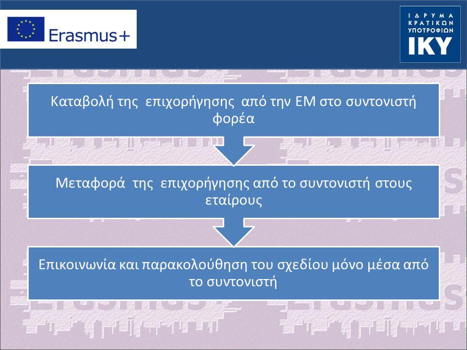 Επικοινωνία και παρακολούθηση του σχεδίου μόνο μέσα από το συντονιστή Μεταφορά της επιχορήγησης από το συντονιστή στους εταίρους Καταβολή της επιχορήγησης από την ΕΜ στο συντονιστή φορέα
