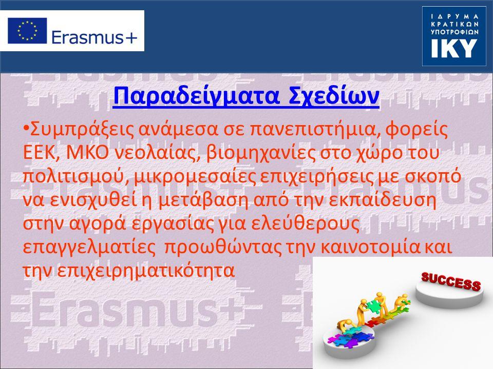 Παραδείγματα Σχεδίων Συμπράξεις ανάμεσα σε πανεπιστήμια, φορείς ΕΕΚ, ΜΚΟ νεολαίας, βιομηχανίες στο χώρο του πολιτισμού, μικρομεσαίες επιχειρήσεις με σκοπό να ενισχυθεί η μετάβαση από την εκπαίδευση στην αγορά εργασίας για ελεύθερους επαγγελματίες προωθώντας την καινοτομία και την επιχειρηματικότητα