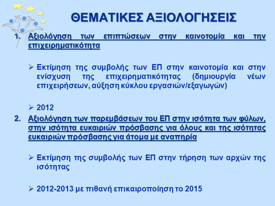 ΘΕΜΑΤΙΚΕΣ ΑΞΙΟΛΟΓΗΣΕΙΣ 1.Αξιολόγηση των επιπτώσεων στην καινοτομία και την επιχειρηματικότητα  Εκτίμηση της συμβολής των ΕΠ στην καινοτομία και στην ενίσχυση της επιχειρηματικότητας (δημιουργία νέων επιχειρήσεων, αύξηση κύκλου εργασιών/εξαγωγών)  2012 2.Αξιολόγηση των παρεμβάσεων του ΕΠ στην ισότητα των φύλων, στην ισότητα ευκαιριών πρόσβασης για όλους και της ισότητας ευκαιριών πρόσβασης για άτομα με αναπηρία  Εκτίμηση της συμβολής των ΕΠ στην τήρηση των αρχών της ισότητας  2012-2013 με πιθανή επικαιροποίηση το 2015