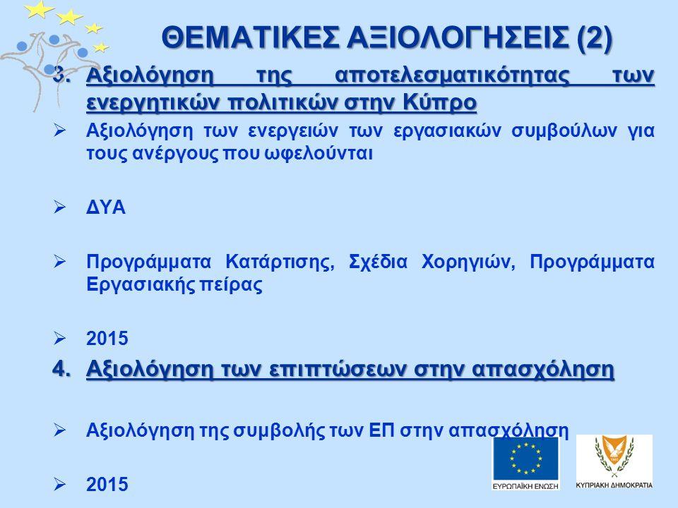 ΘΕΜΑΤΙΚΕΣ ΑΞΙΟΛΟΓΗΣΕΙΣ (2) 3.Αξιολόγηση της αποτελεσματικότητας των ενεργητικών πολιτικών στην Κύπρο  Αξιολόγηση των ενεργειών των εργασιακών συμβούλων για τους ανέργους που ωφελούνται  ΔΥΑ  Προγράμματα Κατάρτισης, Σχέδια Χορηγιών, Προγράμματα Εργασιακής πείρας  2015 4.Αξιολόγηση των επιπτώσεων στην απασχόληση  Αξιολόγηση της συμβολής των ΕΠ στην απασχόληση  2015
